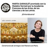 MARTA GARAULET premiada con la Medalla de Vermeil por la Academia Francesa de las Artes, de las Ciencias y de las Letras